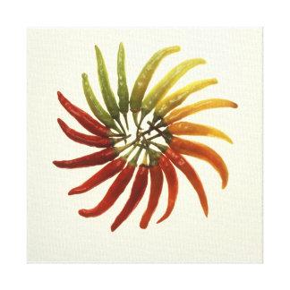 Pimientas del chile picante impresiones en lienzo estiradas