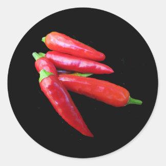 Pimientas del chile picante pegatinas redondas
