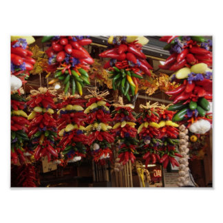 Pimientas en el mercado de lugar de Pike Póster