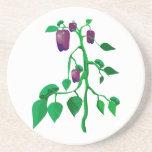 Pimientas púrpuras en gráfico de la planta verde posavasos para bebidas