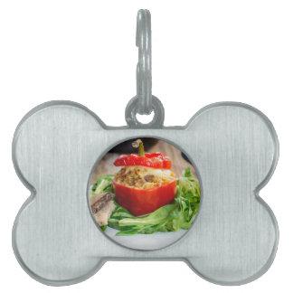 Pimientas rellenas Baked con la salsa y el queso Placas Mascota