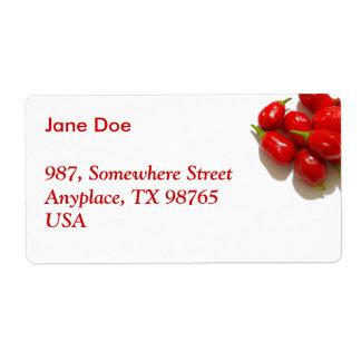 Pimientas rojas etiquetas de envío