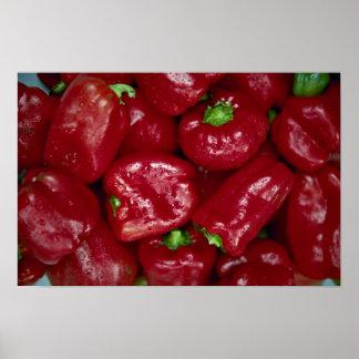 Pimientas rojas frescas deliciosas poster