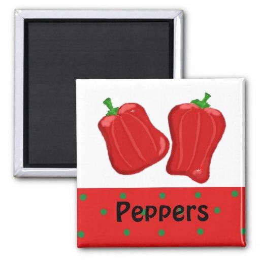 Pimientas rojas iman de frigorífico