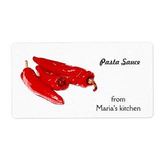 pimientas rojas - salsa para pasta etiquetas de envío