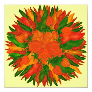 Pimientas soleadas invitación 13,3 cm x 13,3cm