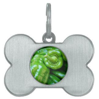 Pimientas verdes placas mascota