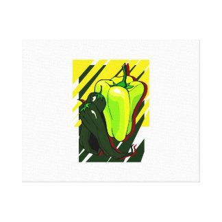 Pimientas verdes y amarillas en BG amarilla Impresiones En Lona Estiradas