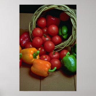 Pimientas y tomates hermosos impresiones