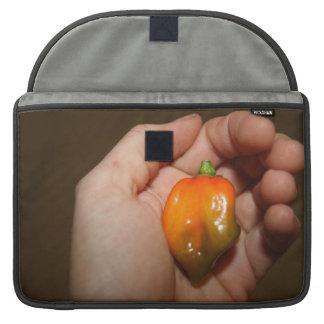 Pimiento picante del habanero en mano femenina fundas para macbooks