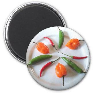 Pimientos picantes 3 imán redondo 5 cm