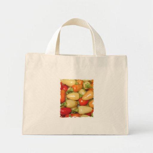 Pimientos picantes amarillo rojo y naranja bolsa tela pequeña