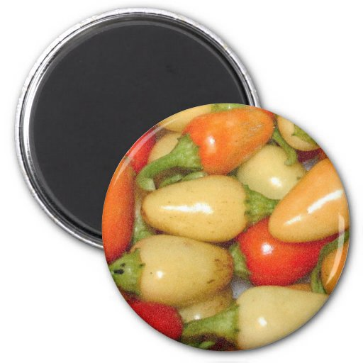 Pimientos picantes amarillo rojo y naranja imán para frigorífico