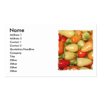 Pimientos picantes amarillo rojo y naranja tarjetas de visita