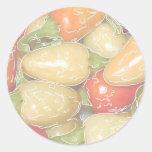 Pimientos picantes, fondo descolorado con el pegatina redonda