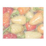Pimientos picantes, fondo descolorado con el traza tarjeta postal