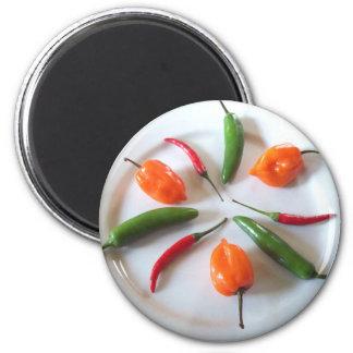 Pimientos picantes imán redondo 5 cm
