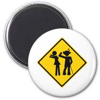 Pimp Backhand Road Sign 2 Inch Round Magnet