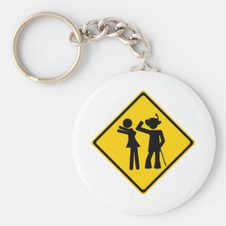 Pimp Backhand Road Sign Basic Round Button Keychain