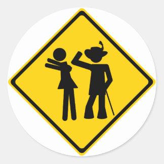 Pimp Backhand Road Sign Round Sticker