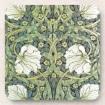 """Pimpernel by William Morris Beverage Coaster<br><div class=""""desc"""">A wallpaper pattern by William Morris (1834-1896),  Pimpernel (1876). White poppies with green leaves and yellow pimpernel flowers. He is a British artist best known for his influence on the Arts and Crafts movement and his wallpaper design.</div>"""