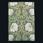 """Pimpernel by William Morris Kitchen Towel<br><div class=""""desc"""">A wallpaper pattern by the British artist William Morris (1834-1896) who influenced the Arts and Crafts movement,  Pimpernel (1876). White poppies with green leaves and yellow pimpernel flowers.</div>"""
