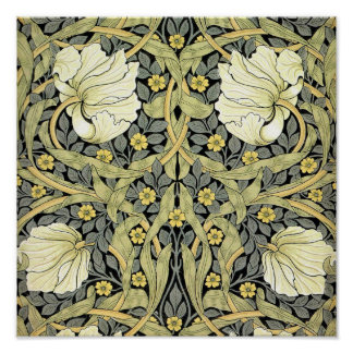 Pimpernel Yellow Green Floral Pattern Vintage Poster