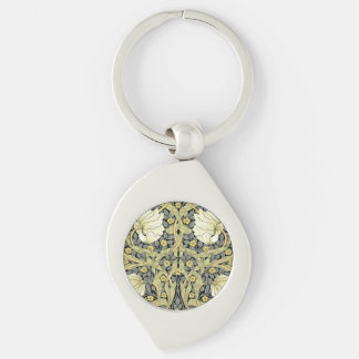 Pimpernel Yellow Green Floral Pattern Vintage Silver-Colored Swirl Metal Keychain