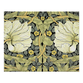 Pimpernel Yellow Green Floral Pattern Vintage Wall Poster