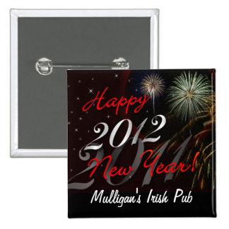 Pin 2012 - favores de la Feliz Año Nuevo de fiesta Pin Cuadrada 5 Cm