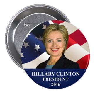 """Pin 3"""" del presidente 2016 botón de Hillary"""