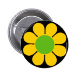 Pin amarillo del flower power de los años 60