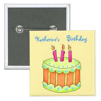 Pin amarillo personalizado torta del feliz pin cuadrada 5 cm