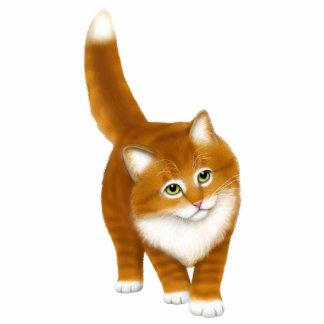Pin anaranjado amistoso del gatito del Tabby Fotoescultura Vertical
