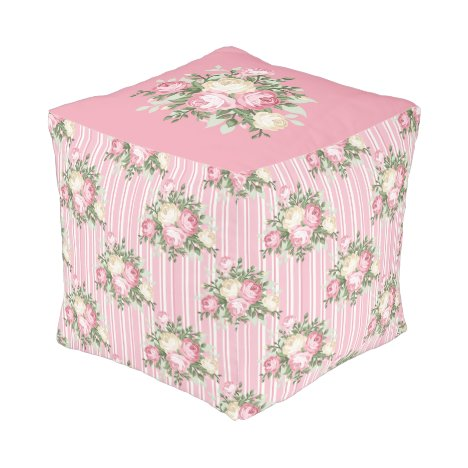Pin and Cream Rose Bouquet Pouffe - Square Pouf