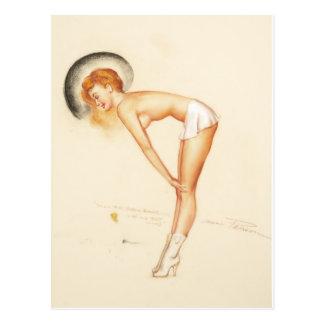 Pin atractivo del chica encima del arte tarjetas postales