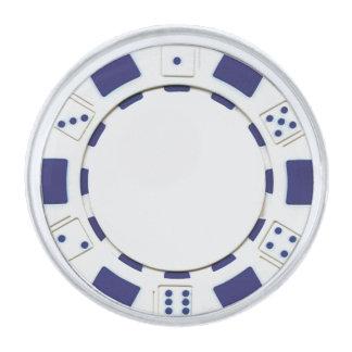 Pin azul de la solapa de la ficha de póker insignia plateada