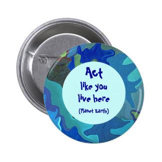 Pin azul del collage del Día de la Tierra. El acto