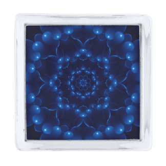 Pin azul eléctrico de la solapa de la mandala insignia plateada