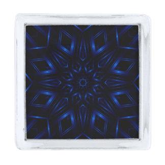 Pin azul eléctrico de la solapa del caleidoscopio insignia plateada