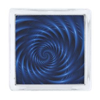 Pin azul eléctrico de la solapa insignia plateada