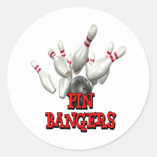 Pin Bangers Bowling Classic Round Sticker