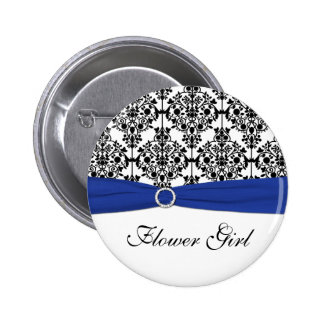 Pin blanco del florista del damasco del negro azul pin redondo 5 cm
