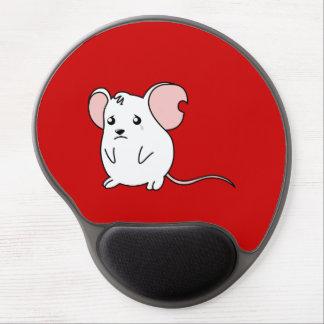 Pin blanco gritador triste del botón de la alfombrillas de raton con gel