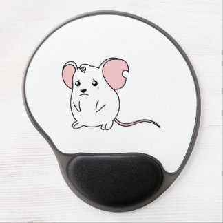 Pin blanco gritador triste del botón de la alfombrilla de raton con gel