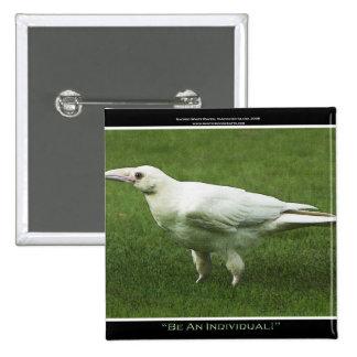 Pin blanco raro de la motivación del cuervo pin cuadrada 5 cm