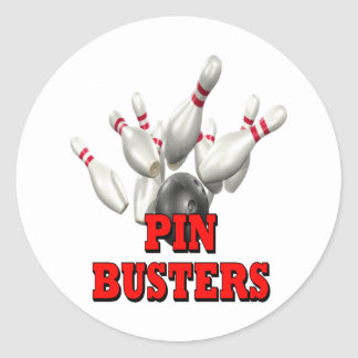 Pin Busters Bowling Classic Round Sticker