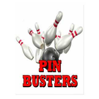 Pin Busters Bowling Postcard