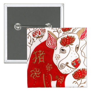 Pin chino del botón de la astrología del cerdo