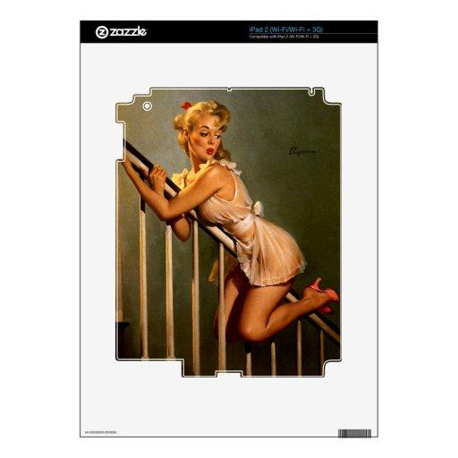 Pin clásico retro de Gil Elvgren del vintage encim Calcomanía Para iPad 2